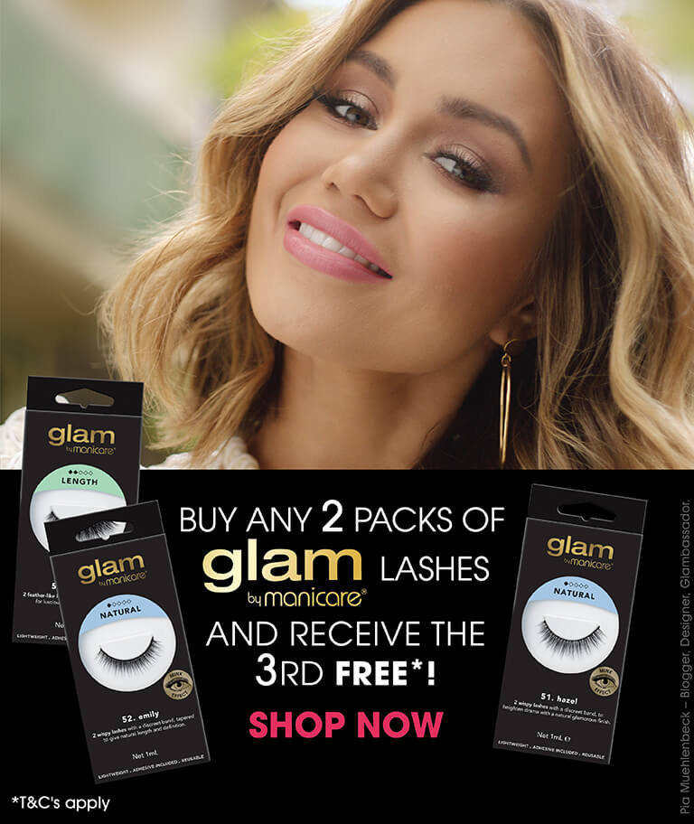 Buy any 2 packs of Glam by Manicare lashes and receive the 3rd free!