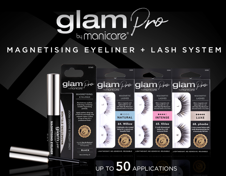 Glam by Manicare® Pro by Manicare Magnetising Eyeliner + Lash System. Change your look in a click with Glam!