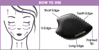 A guide on how to use the manicare dermaSCULPT Gua Sha Stone